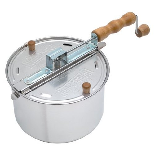Wabash Valley Farms 22000MG Original Whirley Pop Stove Top Popcorn Popper Silver - Perfect Popcorn in 3 Minutes, Regular