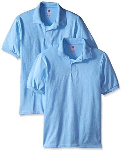 Hanes Men's 2 Pack Short Sleeve Jersey Polo, Light Blue, X-Large