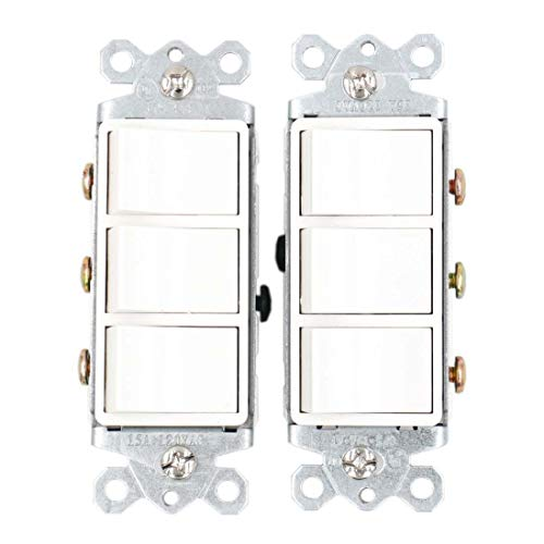 (Baomain Triple three-function Rocker Switch Commercial Grade 15 Amp 120 Volt UL&CUL White 2 Pack)