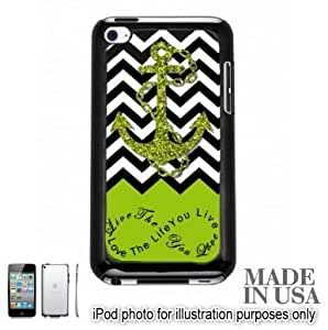 Anchor Live the Life You Love Infinity Quote - Apple Green White Chevron with Anchor iPOD 4 Touch 4th Generation Hard Case - BLACK by Unique Design Gifts [MADE IN USA]