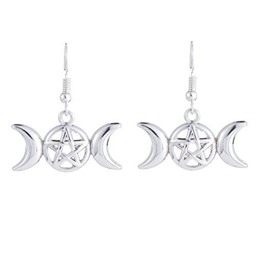 (Slavic Kolovrat Amulet earrings for Russian women drop earrings new fashion jewelry (Antique Silver) )