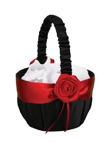 Hortense B. Hewitt Wedding Accessories Midnight Rose Flower Basket, 8-Inch Tall (Make Flower Girl Basket)