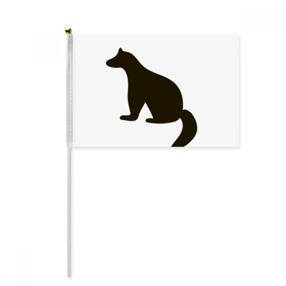 Black Cutton Cute Animal Portrayal Hand Waving Flag 8x5 inch Polyester Sport Event Procession Parade 4pcs