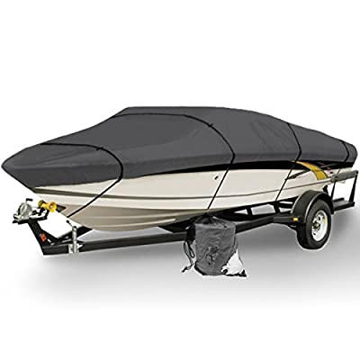 Gray Heavy Duty Waterproof Mooring Boat Cover Fits Length 12' - 22ft Sizing Options Superior Trailerable Boat Covers 600 Denier V-Hull Fishing Aluminum Ski Boat Pro Bass Inboard Outboard Boat Covers