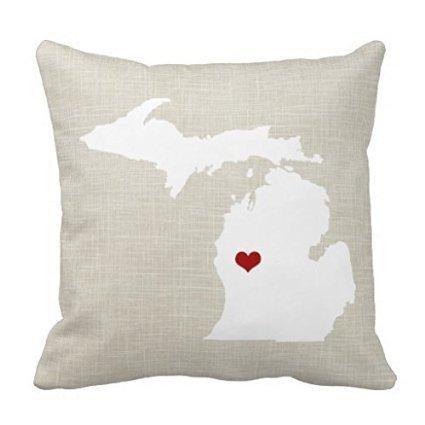 Kissmuyan 18 x 18 Inches Michigan State Throw Pillow Case Home Decor Pillowcase Cushion Cover Throw Pillow Case for Sofa
