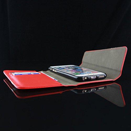 QULT CASE® Étui de protection à rabat En simili cuir de luxe 2en 1Pour votre iPhone Avec fermeture magnétique et fentes pour cartes de crédit, Cuir synthétique, für iPhone 6 rot