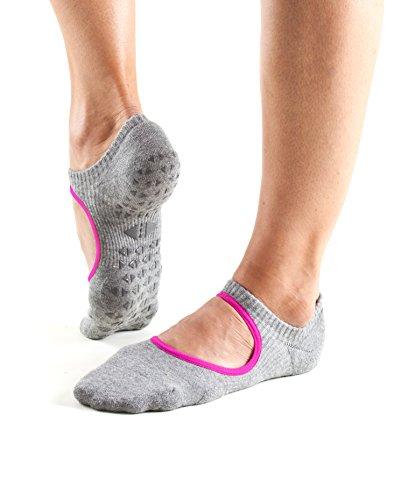 Tavi Noir Chey Mary Jane Non-Slip Grip Socks for Barre, Pilates, Studio, and Yoga (Stone/Magenta Trim) Medium