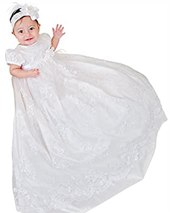 Preslee 9 Month Silk Beaded Christening Baptism Gowns for Girls, Made in USA
