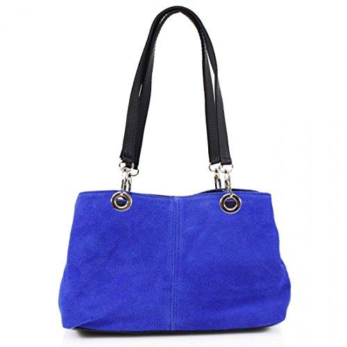 Ladies Italian Real Suede Leather Tote Handbag Ladies Shoulder Strap Bag (Royal Blue)