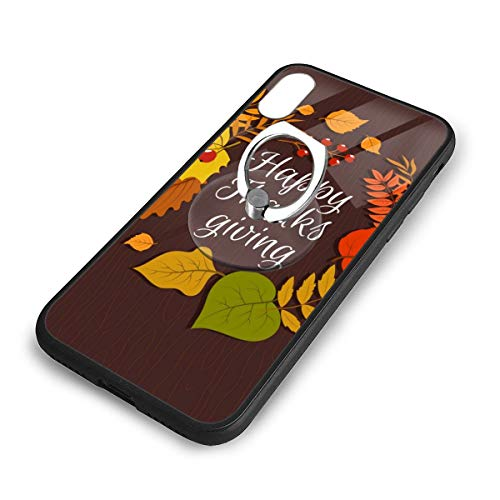 iPhone X Plus Cover Happy Thanksgiving Case with Finger Ring Stand XS Phone Kickstand Holder Shock Protective Basic Protector]()