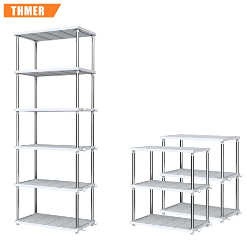 Thmer 6-tier ABS Shoe Rack, Storage Rack, For Bathroom,Kitchen,Livingroom,Detachable.Durable, Corrosion Resistant. by Thmer