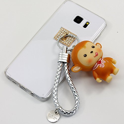 TISHAA Samsung Galaxy Note 5 Case, New 2016 Hot Blue and Red Tie Monkey Charm Doll Key Chain Case Cover (Red Tie (Sick Animations Halloween)