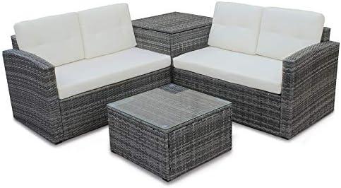Amazon.com: MRS - Juego de 4 muebles de patio de mimbre para ...