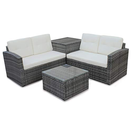 Rhomtree 4 Pcs Patio Sofa Set Outdoor Wicker Rattan Furniture Conversation Set with Storage Cabinet and Coffee Table for Garden Backyard Pool (Beige Cushion)