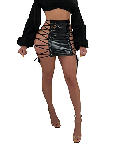 - Yllision cianine Women Side Lace up PU Skirt Sexy PU Leather Mini Club Skirts Black L