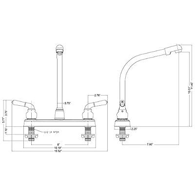 Laguna Brass 1200WT RV Mobile Home Non-Metallic High Rise Swivel Kitchen Sink Faucet, White Finish