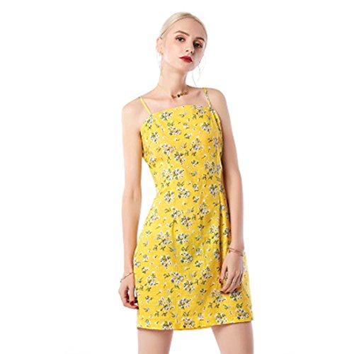 mujer amarillas para Correas l vestido casual una 8qw8EgU