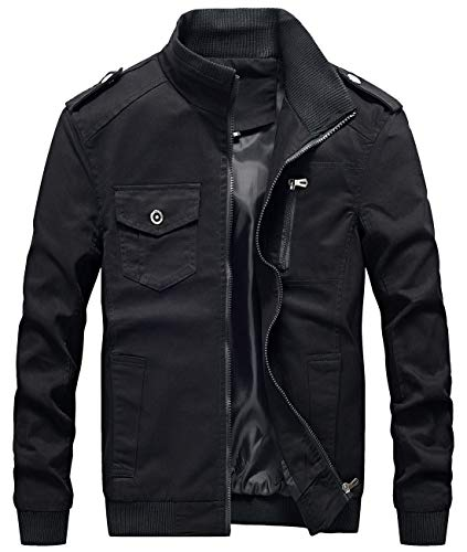 chouyatou Men's Casual Stand Collar Zip-Up Lightweight Bomber Jacket Windbreaker (Small, 11Black) ()