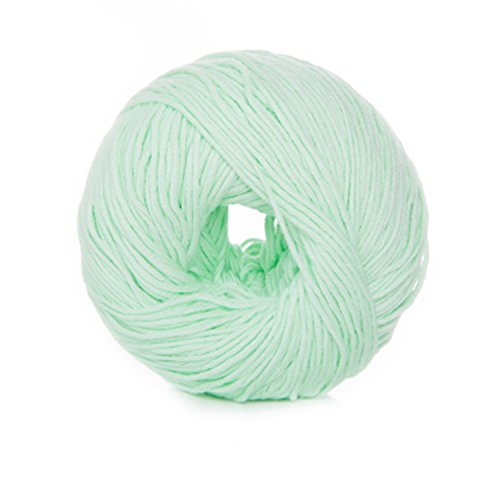 Celine lin One Skein Super Soft Natural Cotton Baby Knitting Yarn,Light mint green -