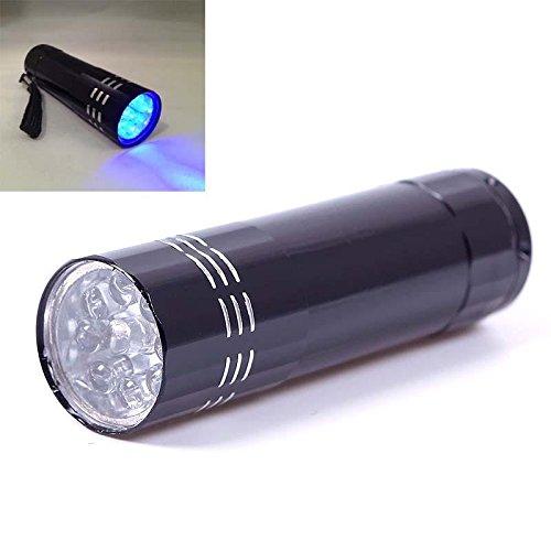 Handheld Portable Bright 9 LED Blacklight Invisible Ink Marker Flashlight UV Ultra Violet Torch Lamp Black 9 LED
