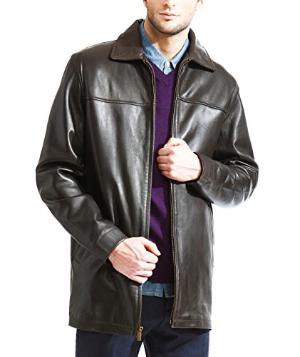 mens-basic-brown-3-4-leather-jacket-zip-out-liner-soft-lamb-skin-leather