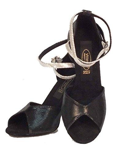 nero Sandalo Satinato Nero Vitiello nero Tanzschuhe Shoes Schwarz Dance Damen satinato EqwPvz