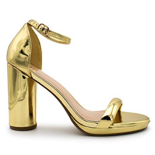 Deliziose Donne Sera Tacchi Alti Open Toe Piattaforma Cinturino Alla Caviglia Casual Pompe A Spillo Premier Glitter Oro