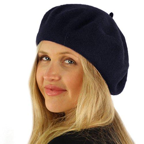 Navy Blue Beret - SK Hat shop Classic Winter 100% Wool Warm French Art Basque Beret Tam Beanie Hat Cap Navy