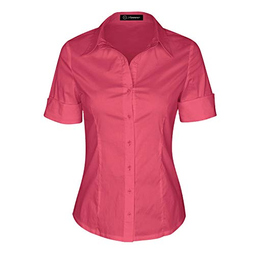 (SUNNOW Womens Tailored Short Sleeve Basic Simple Button-Down Shirt with Stretch (XL, Coral))