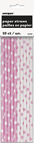 Light Pink Polka Paper Straws