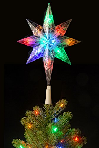 National Tree 11 Inch Bethlehem Star Tree Topper with 10 Battery Operated Dual Color LED Lights with 9 Functions (TA21-11L-B1) by National Tree Company (Image #3)