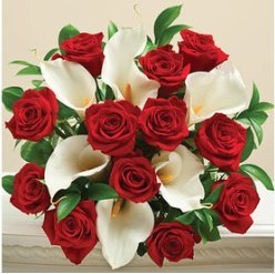 Calla Lily And Red Roses   Bouquet Only