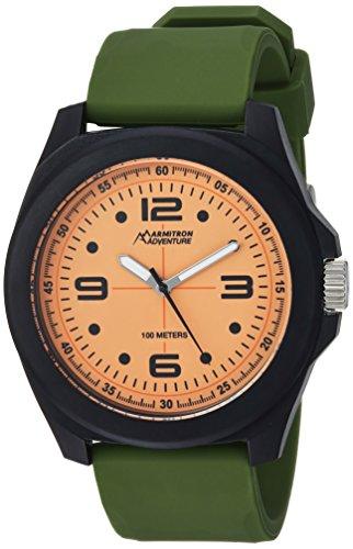 Armitron Adventure Men's AD/1012ORBKGN Luminous Dial Army Green Silicone Strap Watch