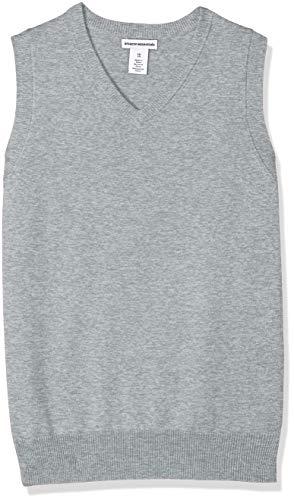 Amazon Essentials Little Boys' Uniform V-Neck Sweater Vest, Light Heather Grey, XS