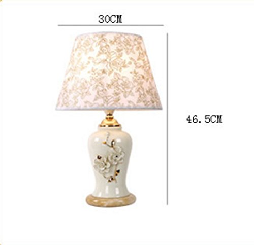 Modern Chinese Table Lamp Bedside Bedroom Ceramic Living Room Table Lamp Room Yellow Flower Lamp ( Color : B ) - Desk Black Polished Lamp