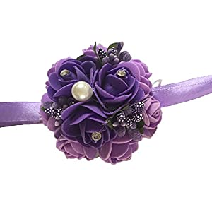 Henglizh Wedding Wrist Flowers Artificial Rose for Bridal Bridesmaids Wrist Corsage Pack of 2,Purple 45