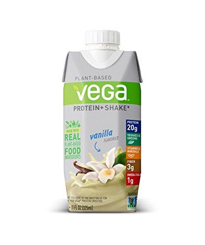 Vega Protein+ Ready to Drink Protein Shake Vanilla (11floz, 12 Count) – Ready to Drink, Plant Based Vegan Protein, Gluten Free, Dairy Free, Soy Free, Vegetarian, Vitamins, Non GMO