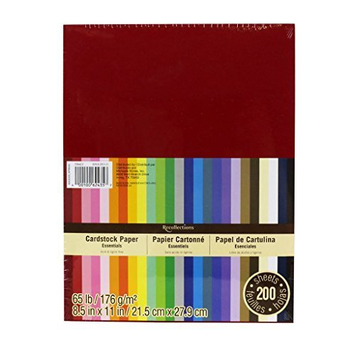 Coloured Card - Recollections Cardstock Paper, Essentials 20 Colors - 200 Sheets 8-1/2 X 11