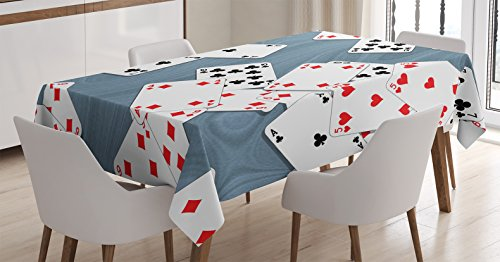 Ambesonne Casino Decorations Tablecloth, Abstract Background with Playing Cards Metropolitan Tourist Attractions, Dining Room Kitchen Rectangular Table Cover, 60 X 90 -