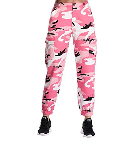 Pink Camouflage Pants - ZODLLS Women's Camouflage Pants Cargo Trousers Cool Camo Pants High Waist Casual Multi Outdoor Jogger Pants(Pink,XX-Large)