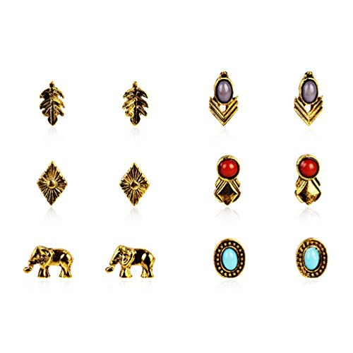 (XIEXIE Stud Earrings AAA Cubic Zirconia Circular Unique Design Alloy Jewelry For Party Daily Casual 1 Set , gold , one size)