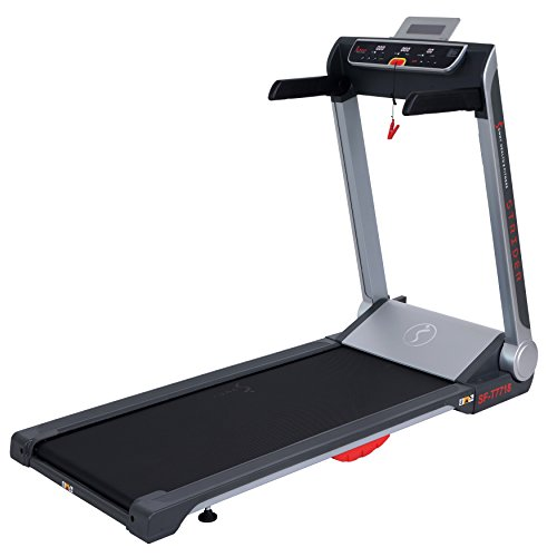 Sunny Health & Fitness Motorized Folding Running Treadmill with Wide Base, Portable, USB, Aux, Flat Folding & Low Profile - Strider, SF-T7718, Black by Sunny Health & Fitness (Image #2)