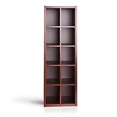 VCCUINE Freestanding Multipurpose Cabinet Toy Box Shoe Rack Storage 10 Cube Organizer, Dark Cherry
