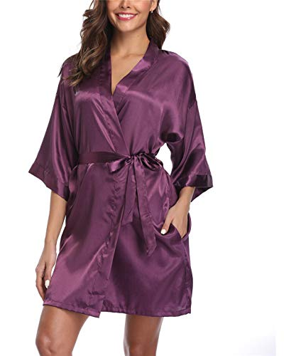 Plus Size Bridal - Super Shopping-zone Women's Plus Size Satin Kimono Bridal Party Robes,Dark Purple