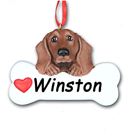 - Personalized Brown Dachshund Breed Wiener Dog and Dog Bone with Red Heart Detail Hanging Christmas Tree Ornament with Custom Name - 3 inches