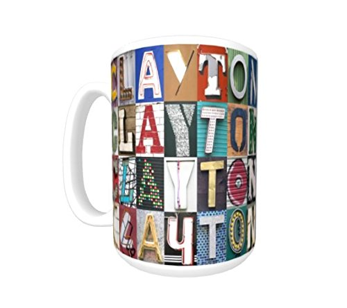 CLAYTON Coffee Mug / Cup - using photos of sign letters - personalized