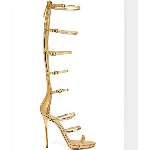 ZHZNVX Zapatos de Mujer Fabricada con Cuero de Vaca Primavera Otoño Gladiator Comfort Sandalias Stiletto Talón for Casual Oro Plata,Oro,US8/UE39/UK6/CN39
