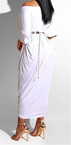 Women's One Half Loose Dress Solid White Cromoncent Fit Shift Shoulder Sleeve Midi Dress RfYwdfxq