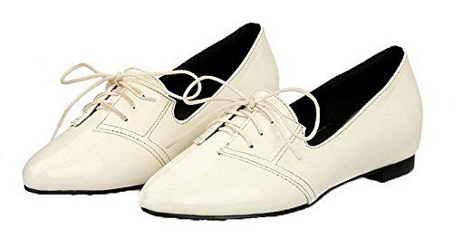 Lace Shoes White up Women's Pumps cSolid Patent Leather Odomolor qIPpzP