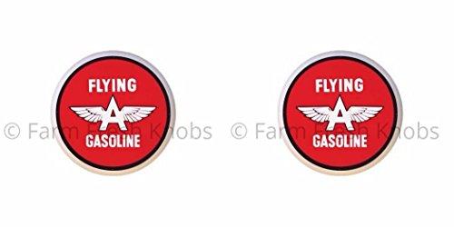 - SET OF 2 KNOBS - Flying A Gasoline - Vintage Gas Station Signs - DECORATIVE Glossy CERAMIC Cupboard Cabinet PULLS Dresser Drawer KNOBS